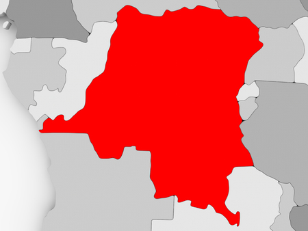 Democratic Republic of Congo in red on grey political map. 3D illustration. Stock Photo