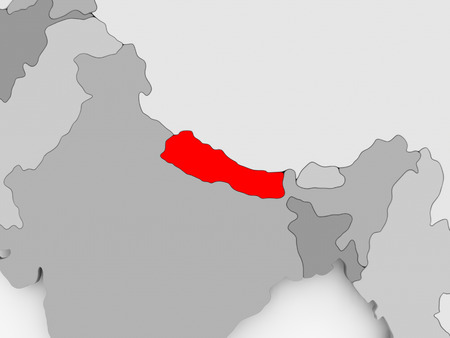 Nepal in red on grey political map. 3D illustration.
