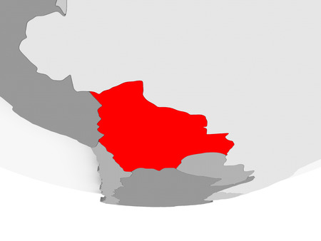 Bolivia in red on grey political globe. 3D illustration.