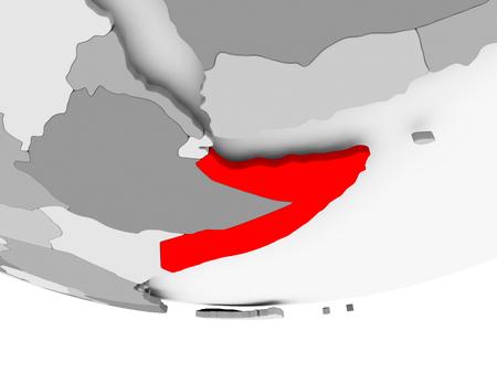 Somalië in het rood op grijze politieke wereld. 3D illustratie.