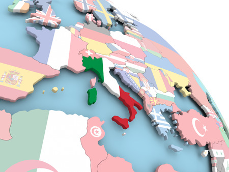 3D render of Italy with flag on bright globe. 3D illustration.