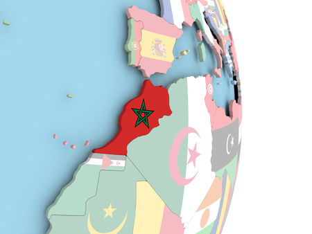 Morocco with embedded flag on globe. 3D illustration.