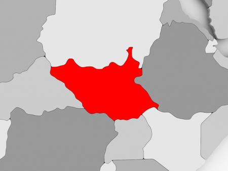 남쪽 수단 회색 정치지도에 빨간색입니다. 3D 그림입니다. 스톡 콘텐츠
