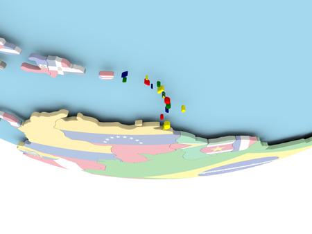 Caribbean on globe with flag. 3D illustration.