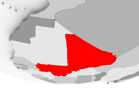 Mali in red on grey political globe. 3D illustration. Stock Photo