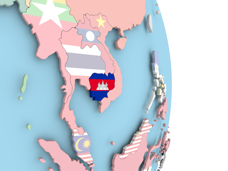 Cambodia with embedded flag on globe. 3D illustration. Stock Photo