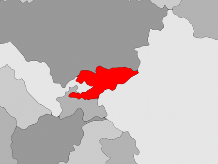 Kyrgyzstan in red on grey political map. 3D illustration. Stock Photo