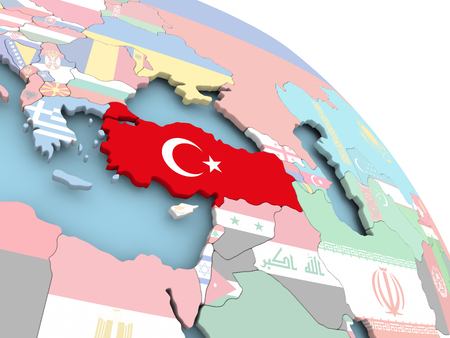 3D render of Turkey with flag on bright globe. 3D illustration.