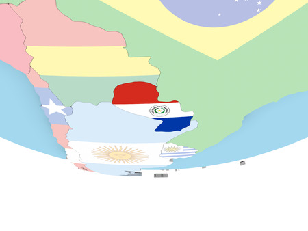 Paraguay on globe with flag. 3D illustration.