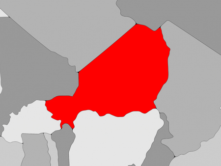 Niger in red on grey political map. 3D illustration.