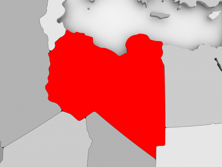 Libië in het rood op grijze politieke kaart. 3D illustratie.