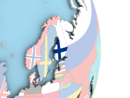 embedded: Finland with embedded flag on globe. 3D illustration.
