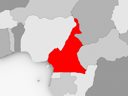 Cameroon in red on grey political map. 3D illustration.