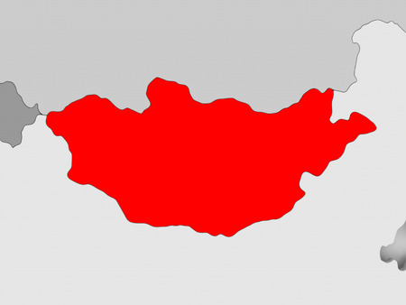 Mongolia in red on grey political map. 3D illustration.