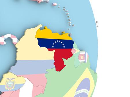Venezuela with embedded flag on globe. 3D illustration.