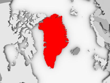 Groenland in rood op grijze politieke kaart. 3D illustratie.