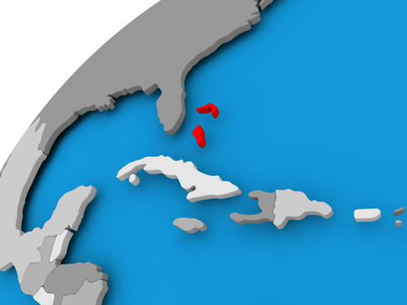 Bahamas on simple political globe with visible country borders. 3D illustration.