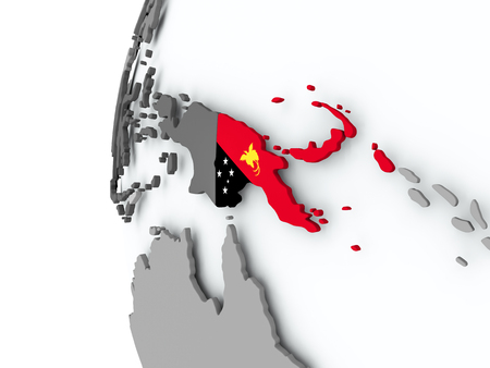 Illustration of Papua New Guinea on political globe with embedded flag. 3D illustration. Stock Photo
