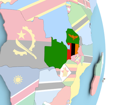 Zambia with embedded flag on globe. 3D illustration. Stock Photo