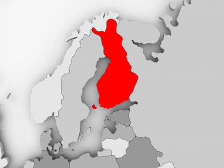 Finland in red on grey political map. 3D illustration.