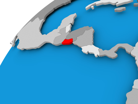 El Salvador on simple political globe with visible country borders. 3D illustration.