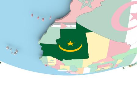 Mauritania on globe with flag. 3D illustration.