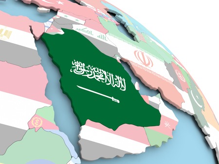 3D render of Saudi Arabia with flag on bright globe. 3D illustration.