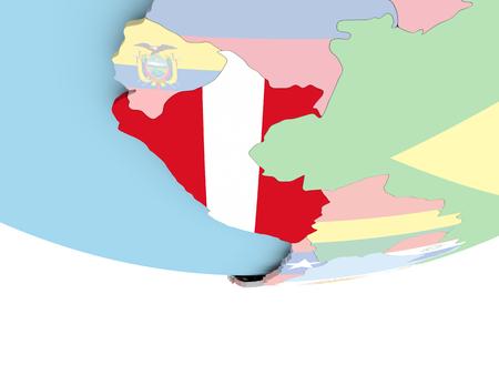 Perú en el mundo con bandera. Ilustración 3D.