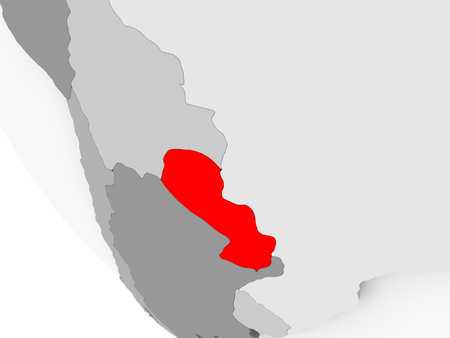 Paraguay in red on simple grey political globe with visible country borders. 3D illustration.
