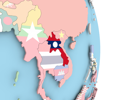 Laos with embedded flag on globe. 3D illustration.