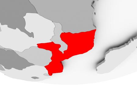 Mosambik im Rot auf grauer politischer Kugel. 3D-Darstellung. Standard-Bild - 88049767