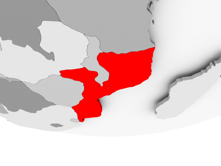 Mozambique in red on grey political globe. 3D illustration. Stock Photo