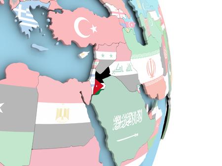 Jordanië met ingesloten vlag op wereldbol. 3D illustratie.