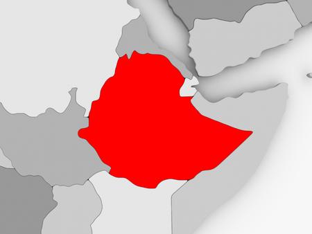 Ethiopie en rouge sur gris vue créative. illustration 3d Banque d'images - 88049823