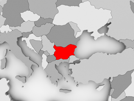 Bulgaria in red on grey political map. 3D illustration.