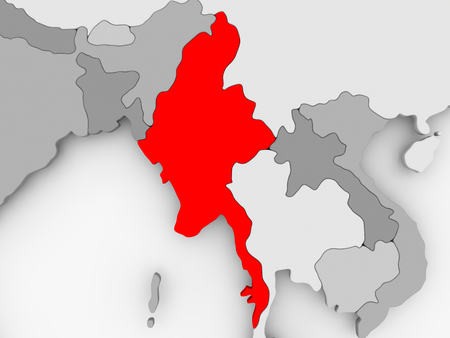 Myanmar in red on grey political map. 3D illustration.
