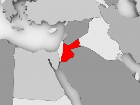 Jordanië in het rood op grijze politieke kaart. 3D illustratie. Stockfoto