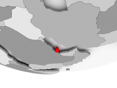 Qatar in red on grey political globe. 3D illustration.