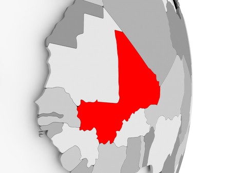 Mali highlighted in red on grey political globe. 3D illustration.