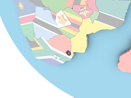 Swaziland on bright political globe with embedded flag. 3D illustration.