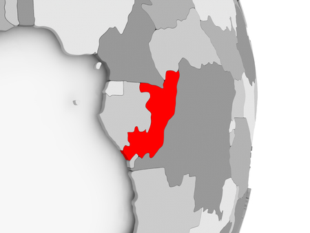 Kongo hob in Rot auf grauer politischer Kugel hervor . 3D-Darstellung Standard-Bild - 88082803