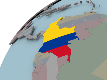 Colombia on political globe with embedded flags. 3D illustration.
