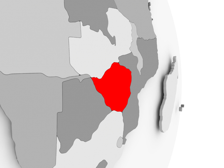 Zimbabwe highlighted in red on grey political globe. 3D illustration. Stock Photo