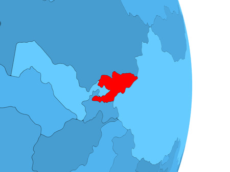 visible: Kyrgyzstan in red on simple blue political globe with visible country borders. 3D illustration.