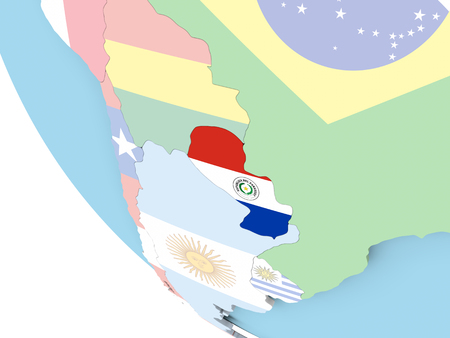 embedded: Paraguay on bright political globe with embedded flag. 3D illustration.