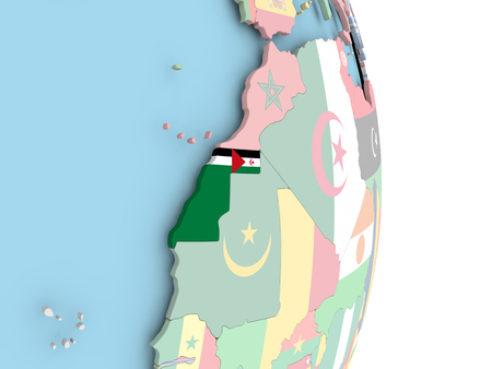 Western Sahara with embedded flag on globe. 3D illustration. Stock Photo