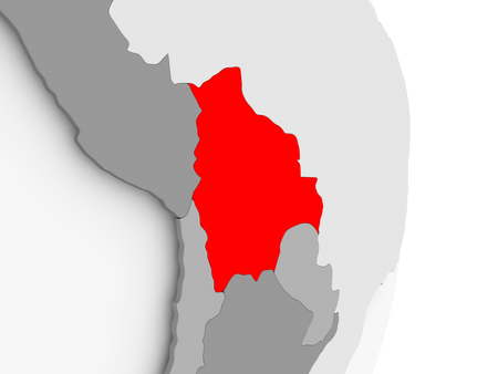 Bolivia highlighted in red on grey political globe. 3D illustration.
