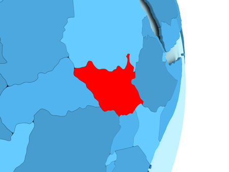 South Sudan in red on simple blue political globe with visible country borders. 3D illustration.