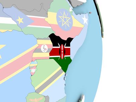 Kenya with embedded flag on globe. 3D illustration.