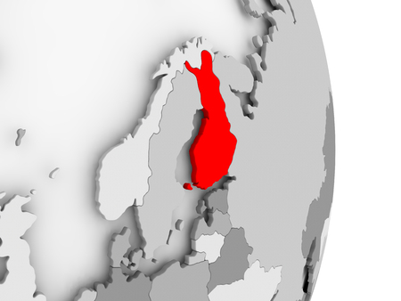 finnish: Finland highlighted in red on grey political globe. 3D illustration. Stock Photo